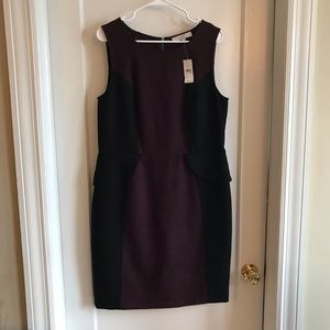 NWT Loft maroon and back peplum dress size 14